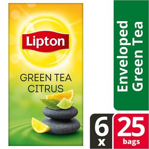"""Τσάι Πράσινο Εσπεριδοειδή """"Lipton""""  (1 πακέτο - 25 Φακελάκια Χ 1.3 gr /6 πακέτα στο κιβώτιο)"""