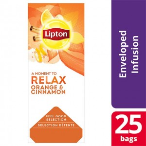 """Τσάι Μαύρο Πορτοκάλι και Κανέλλα """"Lipton"""" (1 πακέτο - 25 Φακελάκια Χ 1.6 gr /6 πακέτα στο κιβώτιο)"""