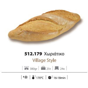 Ψωμί Χωριάτικο Προψημένο Κατεψυγμένο 380gr (25 τεμάχια στο κιβώτιο)