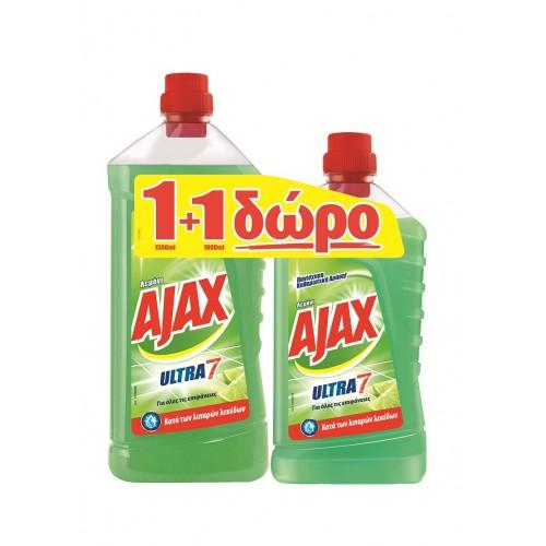 Ajax Καθαριστικό για Πάτωμα U7 Λεμόνι1+1 Δώρο (1,5 Lt τεμάχιο/4 τεμάχια στο κιβώτιο)