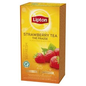 """Τσάι Μαύρο Φράουλα """"Lipton"""" (1 πακέτο - 25 Φακελάκια Χ 1.6 gr /6 πακέτα στο κιβώτιο)"""