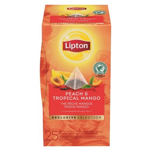 """Τσάι Πυραμίδα Peach & Tropical Mango """"Lipton"""" (1 πακέτο - 25 Φακελάκια Χ 1.8 gr /6 πακέτα στο κιβώτιο)"""