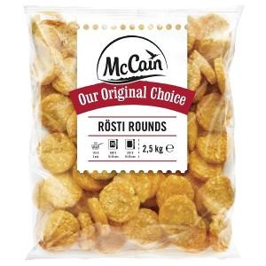 """Πατάτα Προτηγανισμένη Κατεψυγμένη Rosti Rounds """"McCain"""" (2.5 Kg τεμάχιο / 2 τεμάχια στο κιβώτιο)"""
